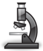 Cartoon outline of drawing of microscope seen from side
