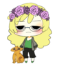 bebe icon of grumpy-looking blonde person with glasses, flower crown, and big orange cat