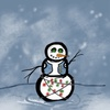 A snowman on a hill with a blurry blue and white textured background. They are outlined in a thick black line, and is wearing an unbuttoned blue vest, has glowing red and green christmas lights wrapped around him, and his eyes are a phantom green