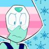 Peridot (Steven Universe) with transfeminine pride flag