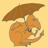 Worried orange dragon, holding an umbrella