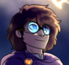 An image of Erin Ruunaser from Aurora Webcomic. He has blue eyes and short dark hair. He is wearing translucent blue goggles and a greyish-purple cloak with a gold brooch. He looks to the right and slightly upward with a small, self-satisfied smile.