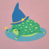 a pink stuffed animal snake with a pink and black witch's hat and a black forked tongue sticking out. they are sitting on a mini pumpkin