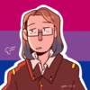 Nastya Rasputina, a young woman with brown and blue hair, over the bisexual pride flag