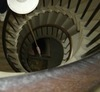 Overhead image of spiral stairs