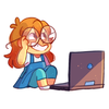 Baby Pidge with a laptop.