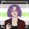 an animated drawing of a woman with light skin, glasses, and curly purple hair, set against the Aromantic pride flag as a background