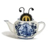 A drawing of a bee peaking out of a china teapot.