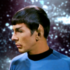 TOS Spock against a blurry background of space.