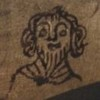 Pen outline of a face with curly hair and a pointy beard on some dark vellum (MS shelfmark: AM 604 4to)