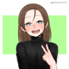 picrew avatar creator image, a white person with grey eyes, shoulder-length brown hair, and shark teeth giving the victory sign and smiling