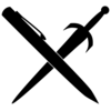 A pen and a sword crossing each other in an X.