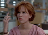 molly ringwald as claire from the breakfast club sticking up her middle finger