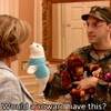 """still from Arrested Development: Buster Bluth holding up a plush seal, asking his mother Lucille, """"Would a coward have this?"""""""