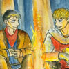 Merlin and Arthur sitting by a fire