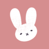 White rabbit on a pink background.