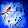 stylised red butterfly on blue blackgroung
