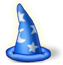 Blue cartoon wizard's hat with white stars on it