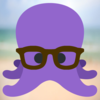 small purple octopus wearing glasses