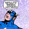 "captain america on a sparkly purple background saying ""Guess I was too deep in thought. Thoughts about Bucky!"""