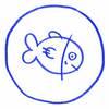 a blue cartoon fish in a blue circle