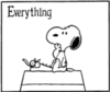 Snoopy at typewriter looking at the word 'Everything'