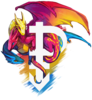 Multicolored dragon symbolizing pansexuality