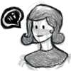 """Black and white doodle of a woman from the collar up. She is smiling. There is a word bubble that says """"Hi"""""""