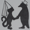 A monkey and a penguin, in fancy hats, holding paws/flippers