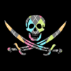 A skull and crossed swords in a colorful argyle pattern on a black background