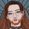 A picrew illustration of the author with large round glasses, long brown hair, and a beard.