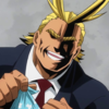 all might holding a lunch sack