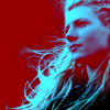 Lagertha from History Channel's Vikings looking into the distance in red/blue monochrome