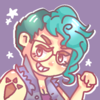 a drawing of myself, featuring my blue hair and awesome goron tattoo what up