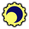 Yellow gear-shaped sun with a blue moon inside