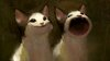 Cat meme that makes pop noise but painted in the style of the 1800s romantic era