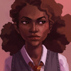Dark-skinned Hermione with fluffy, curly hair