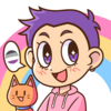 Japanese cartoon version of myself, with short purple hair, an orange cat to my right side, a speech bubble with the asexual pride flag, and the pansexual/panromantic pride flag rainbow in the background.
