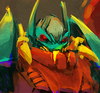 A close up of Ripclaw's face from Transformers Prime