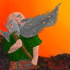 A bald dwarf with a long grey beard, which is releasing several glowing spores. The dwarf is holding a battle axe, and is standing before an orange background.