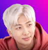 Pink haired Kim Namjoon on a bi flag background because I said so