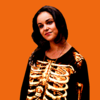 Amy Santiago from Brooklyn Nine-Nine wearing a skeleton costume, on an orange background