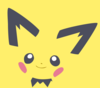 Minimalist avatar of Pichu from Pokemon, a stylized cartoon baby mouse with yellow fur, pointy ears with black tips, black eyes, blush on their cheeks, and black chest fluff
