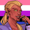 a pureblood in a bright purple suit, with the genderfluid flag in the background