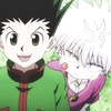 Gon grinning while Killua scowls