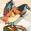 Icon of my fursona, a brown fox with round glasses and many piercings in their ear
