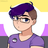 a cartoonish, round-faced person with glasses and buzzed short hair on the sides and somewhat wavy dyed-purple hair on top. behind them is the nonbinary pride flag (horizontal stripes of yellow, white, purple, and black)