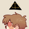 a left-facing profile of dipper pines. a black triangle with a gold eye hovers over his head.