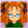 Tchailenova's Avatar - Bespectacled blue eyed young woman in a green Kimono, with her long red-coppery hair pulled up in twin-tails secured by purple ribbons and four gold bells. A serene smile and open expression to show easy humor & deep thoughts.