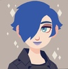 Picrew art of a person with blue hair & punk clothing